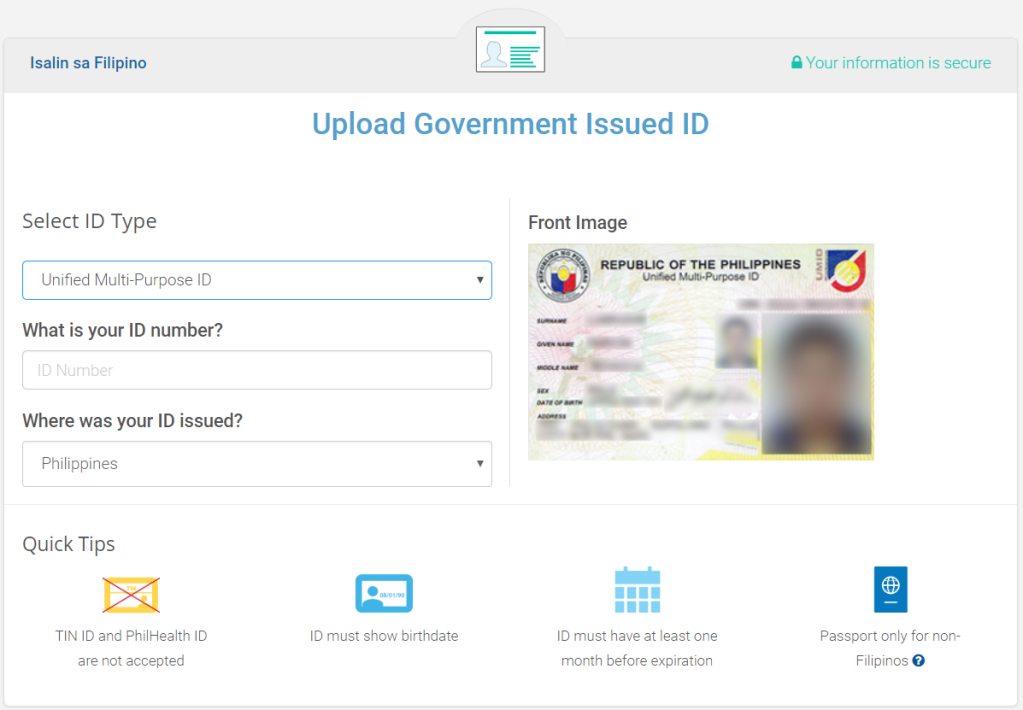 Government Photo requirement for coins.ph desktop versio level 2 verification