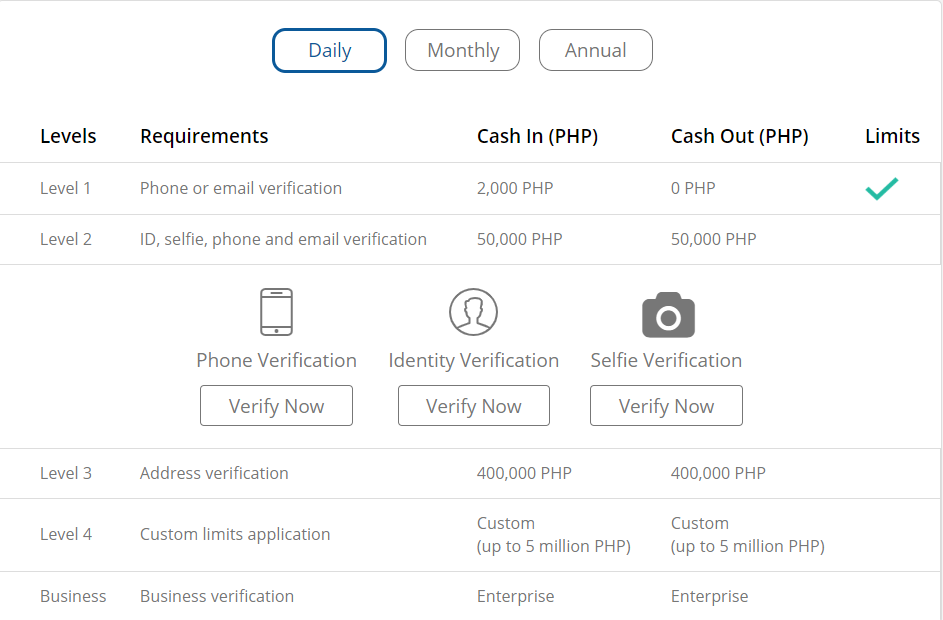 Screenshot on where to locate the verify now button of coins.ph desktop version